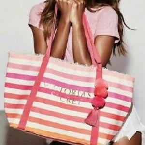 Victoria's Secret 2018 Canvas Striped Pom Pom Bag
